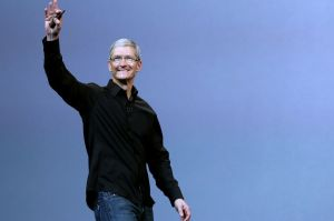 Apple Inc CEO Tim Cook steps out on stage during an Apple event in San Francisco